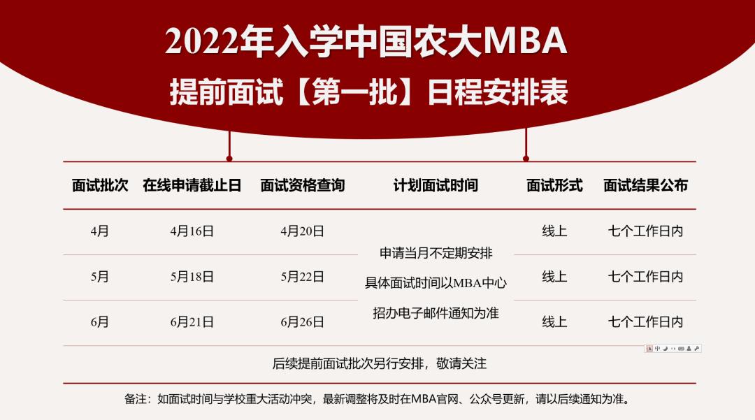 中国农业大学2022年MBA提前面试时间安排